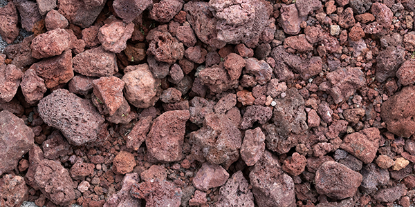 black lava rocks, red lava rocks